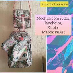 Kit mochila com rodinhas, lancheira e estojo , Puket
