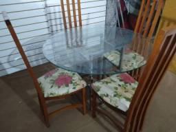 Mesa vidro 1,10mt bisotê c/ ou s/4 cadeiras altas Leia tudo