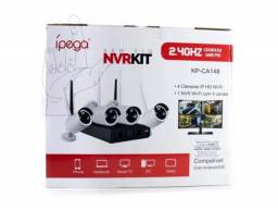 Kit Segurança completo 4 câmeras NVR Ip Hd Wireless Wifi Dvr sem Fio 720p (KP-CA148)