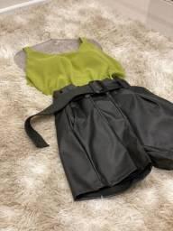 Shorts de couro sintético