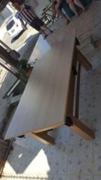 Mesa Tentação MDF Cor Cerejeira Tecido Preto e Borda Amarela Mod. LUSK7738