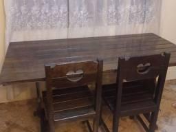 Mesa Madeira maciça 1,78 x 78 mais 6 cadeiras