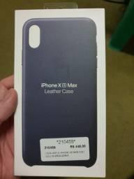 Capa iPhone XS Max Leather Case (azul Couro Original)