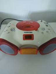 Vendo Micro System TOSHIBA. Cor: creme com laranja