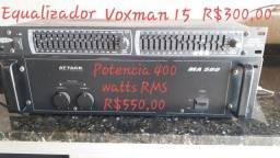 Potência Attack MA 580 e equalizador Voxmam EQS 15