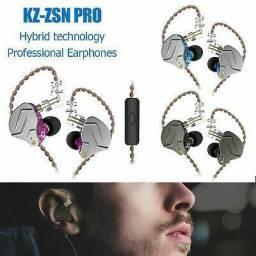 Fone de ouvido retorno de palco kz zsn pro com microfone