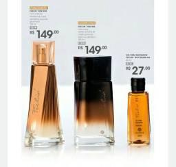 Kit perfumaria ( 2 perfumes e 1 gel massageador)