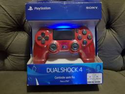 Controle PS4 Semi novo Vermelho Magma na caixa