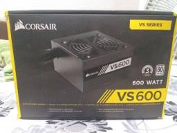 Fonte Corsair Vs600 600w, 80 plus, ATX, 2 anos de garantia