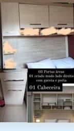 Cabeceira, armário aéreo, armário com criado mudo e gaveta