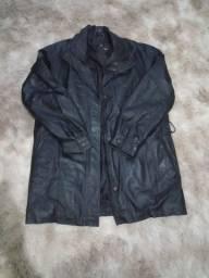 Sobretudo/jaqueta de couro