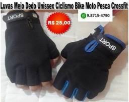 Luvas Meio Dedo Unissex ciclismo Bike Moto Pesca Crossfit Em Poliéster