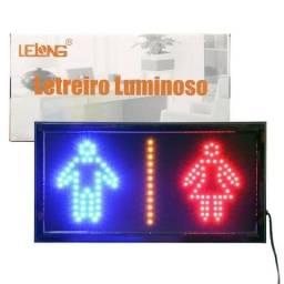 Letreiro Luminoso Painel Placa Pisca Led Luz Escrito Banheiro Vestiário 110v