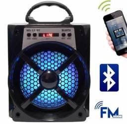Caixa de som Bluetooth FM pendrive Cartão SD