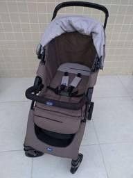 Travel System Chicco KwikOne - Carrinho KwikOne Moka + Bebê conforto Chicco Keyfit Cinza