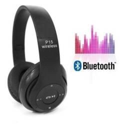 Fone sem fio P15, Bluetooth super wireless super bass