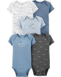 Kit de bodies tons azuis, 5 peças Carters, tamanhos 12 e 18 meses