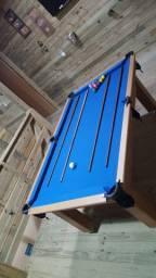 Mesa Tentação de Sinuca Cor Cerejeira Tecido Azul Mod. FTYT0992