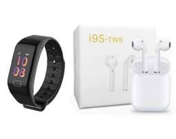 Kit Relógio Inteligente F1 + Fone de Ouvido Bluetooth I9S