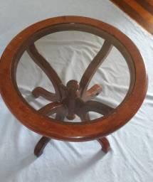 Mesa de Canto Redonda em Madeira Maciça - Vintage Anos 80