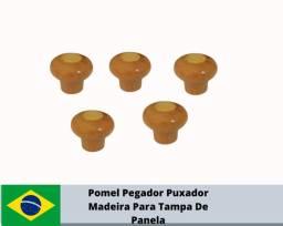 R$25,00 kit 10 Pomel Pegador Puxador Madeira Para Tampa De Panela