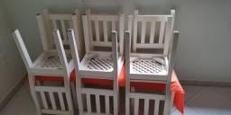 Conjuntos de 6 cadeira em madeira maciça