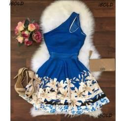 Vestido Rodado Gota Azul