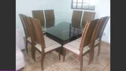 Mesa quadrada e cadeiras, 8 lugares