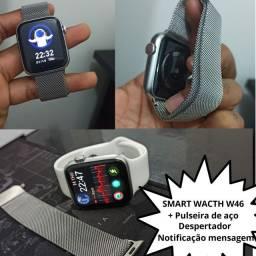 SmartWatch w46 + pulseira de aço