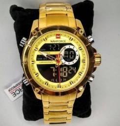 Relógio Naviforce Original com Garantia em Aço Inoxidável Dual Time 3ATM Luxo