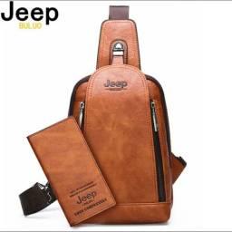 Bolsa Jeep + Carteira Unissex Couro Novo