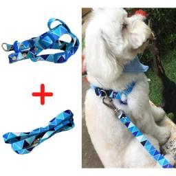 Coleira peitoral ajustável + Guia para cachorro pequeno e médio
