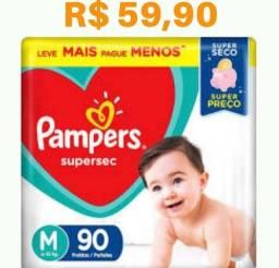 Fraldas Pampers - Tamanho M - Pacote com 90 unidades