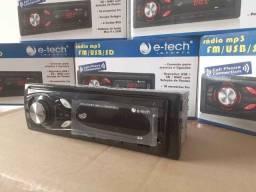 Rádio Automotivo Mp3 Bluetooth e-Tech Completo