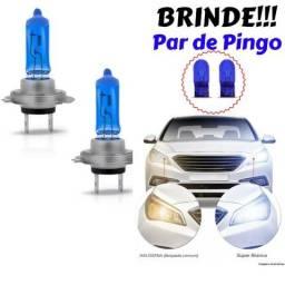Kit com Par de Lâmpadas Super Brancas Efeito Xenon 55w 100% Permitido pelo Detran + Brinde