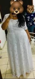 Vestido longo plus size branco G2