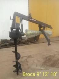 Perfurador de Solo Para Trator Com Broca 9 - 12 e 18
