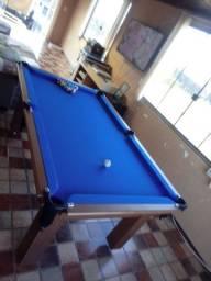 Mesa Tentação Pgto na Entrega Cor Cerejeira Tecido Azul Mod. EJAT5437