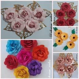 Flores de Papel e topos decorados