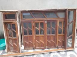 Porta e janelas de madeira 4 peças
