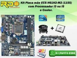 Kit Placa 1155 + I3 ou I5 3 geração + Cooler Com Espelho Traseiro