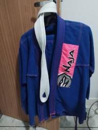 Kimono azul com rosa + faixa branca Naja
