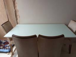 Mesa de com tampo de vidro 6 cadeiras