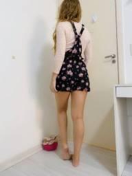 Título do anúncio: Conjunto macaquinho floral e blusa rosa bebê