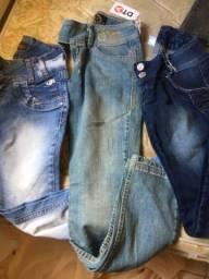 Kit com 4 calças jeans  tamanho 12 anos