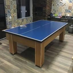 Mesa de sinuca gaveta com tampo de ping pong nova