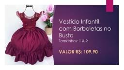 Vestido Infantil de Luxo Com Borboletas no Busto - Tamanhos 1 & 2