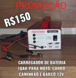 CARREGADOR DE BATERIA 10AH PARA CARRO, MOTO, CAMINHÃO E BARCO 12v.