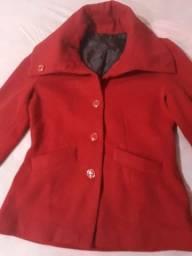 Casaco vermelho de lã batida + naquela jeans aveludada M