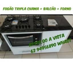 Balcão + cooktop tripla chama atlas + forno 48 litros Best